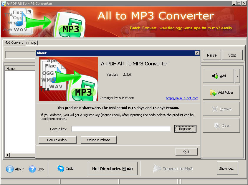 A-PDF All to MP3 Download - Allows you to convert and rip audio