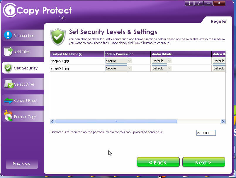 Set Security Level