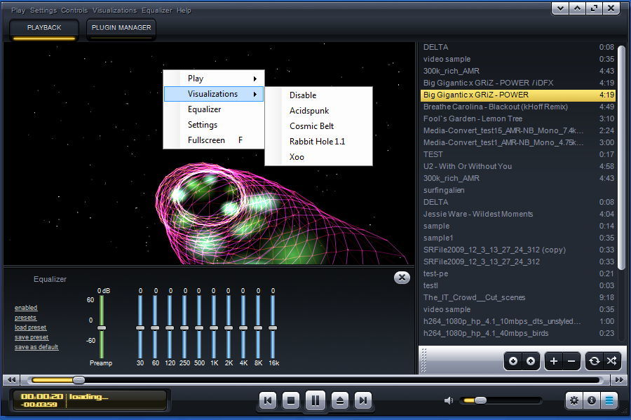 Audio Playback With Visualization Selection