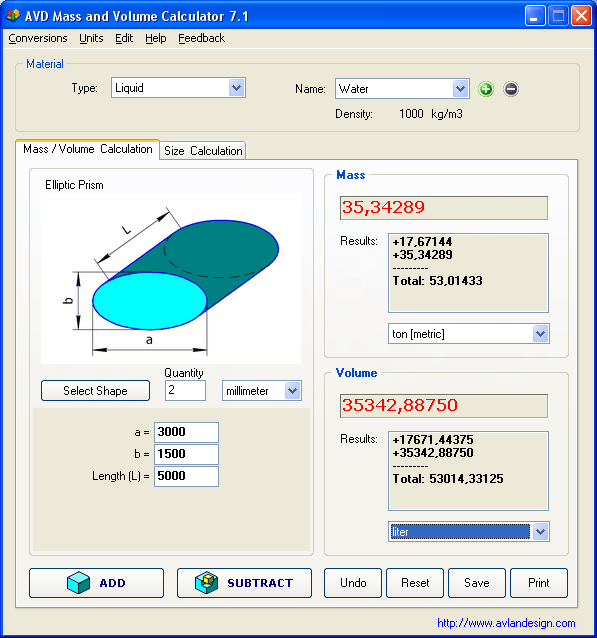AVD Mass and Volume Calculator  Get the software safe and easy