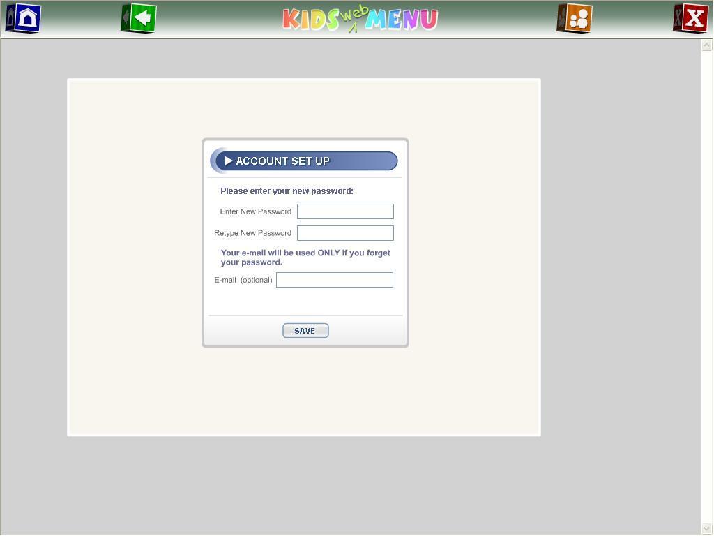Web Menu Account Setup Option