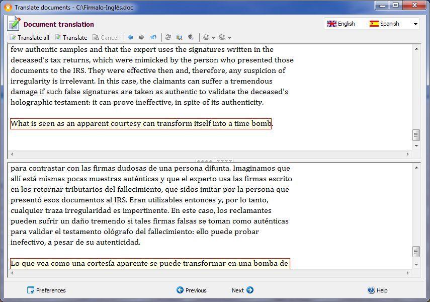 Translating a file
