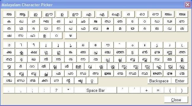Malayalam Character Picker screen