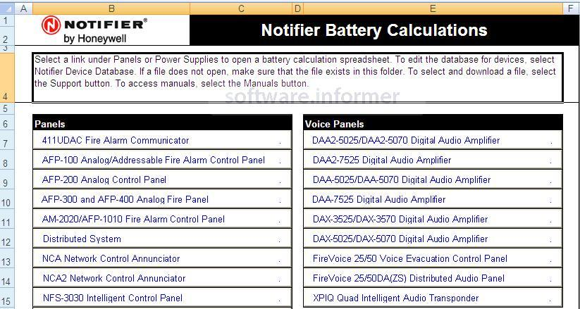 NOTIFIER Battery Calculations Download - Microsoft Excel
