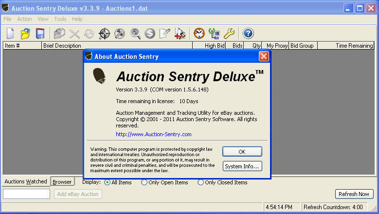 Auction Sentry 4 1 Download Free Trial Auctionsentry Exe