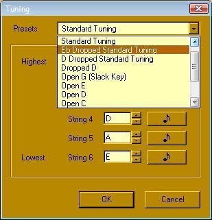 Guitar Power-Tuning menu