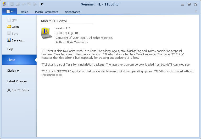 TTLEditor Download - It is a plain text editor with Tera