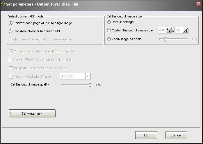 JPEG Output Parameters