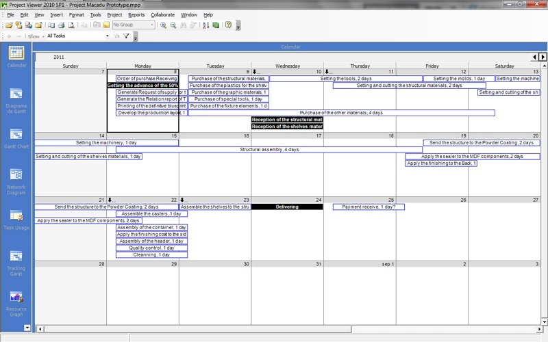 The project in Calendar view