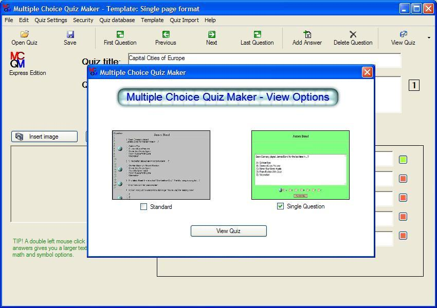 Test Display Options