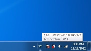 System tray icon displaying the temperature