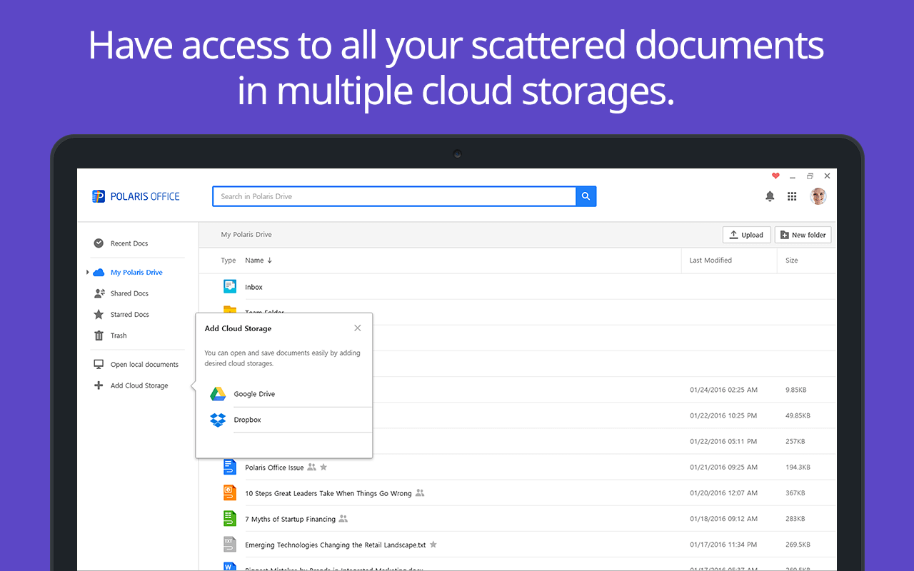 Access to Famous Cloud Storage like Dropbox, Google Drive
