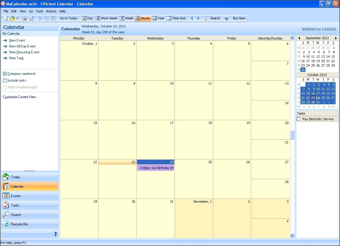 Calendar Section - Monthly View
