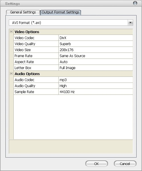 Configuring Output File's Settings