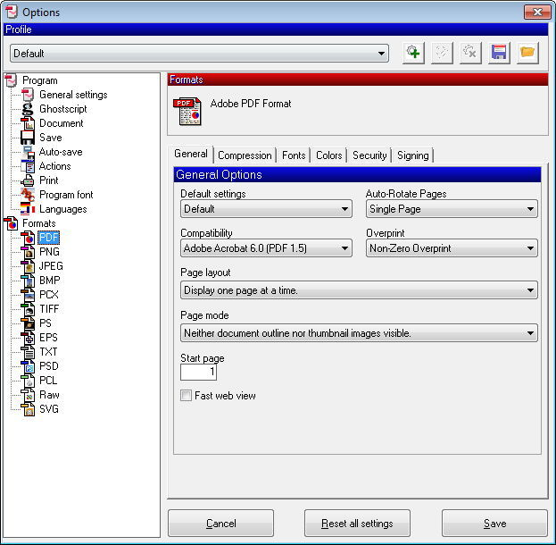 Settings for the PDF Format as Output