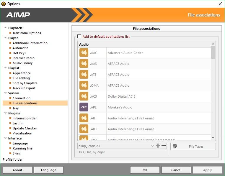 File Associations Options