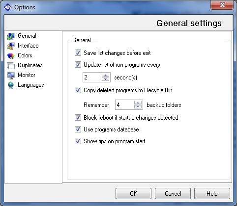 General Settings Window