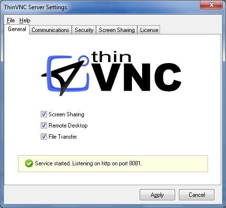 ThinVNC Server Settings Window