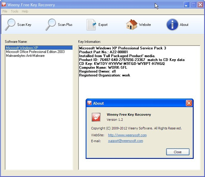 Weeny Free Key Recovery Download - It recovers license keys