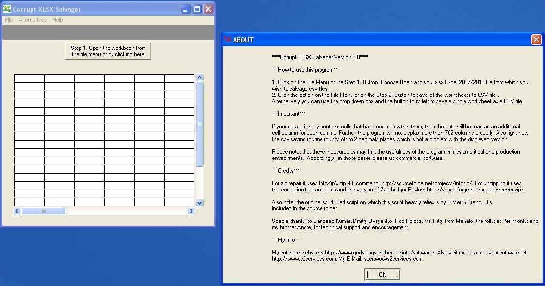Corrupt XLSX Salvager 2 0 Download (Free) - corrupt-xlsx2csv-2 0 4 exe
