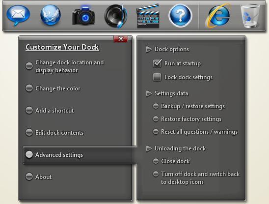Dock Interface and Options Menu