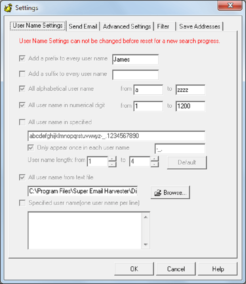 Username settings with a \