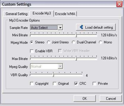 Mp3 settings