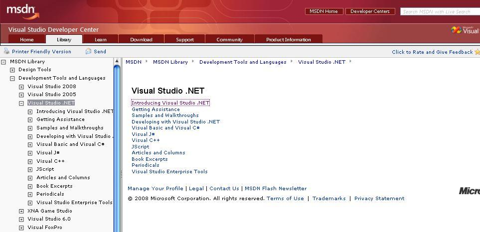 MSDN Library for Visual Studio  NET 2003 7 3 Download (Free