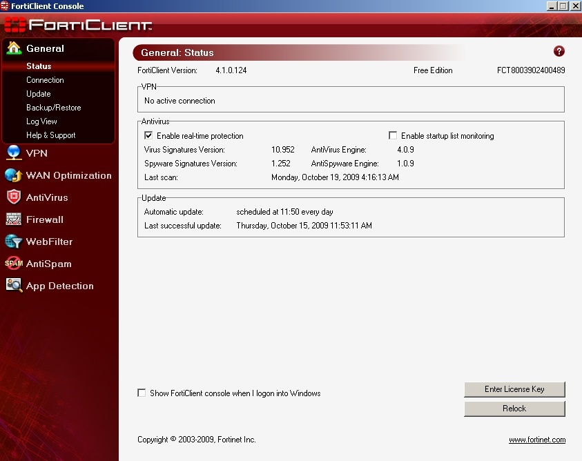 FortiClient Console ScreenShot By NAvin