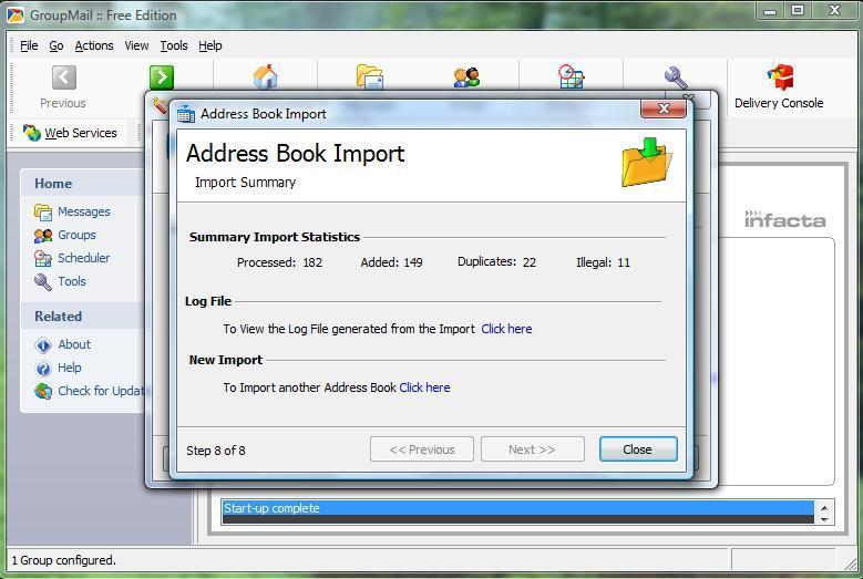 Address book import opton