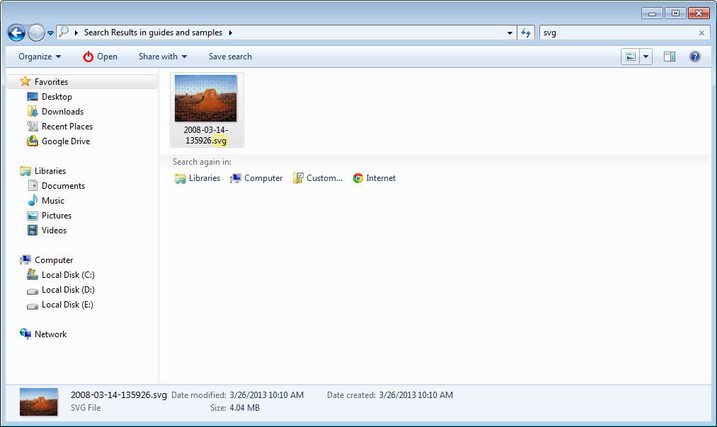 Thumbnail Preview of a SVG File in Windows Explorer