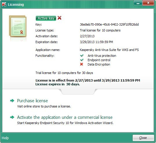 License Window