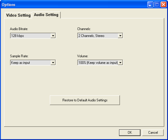 Audio Settings Options