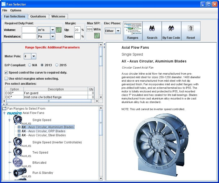 Nuaire Fan Selector Download (FanSelector exe)