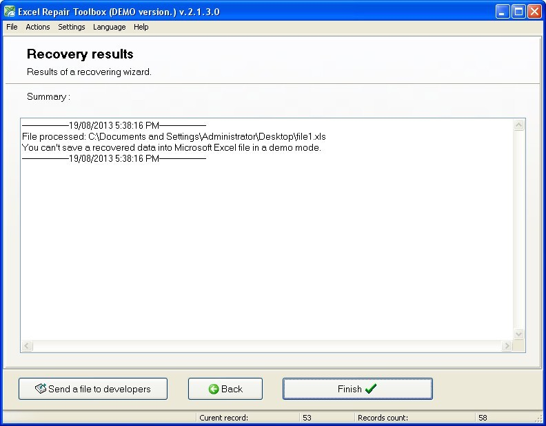 Recovery Results Window