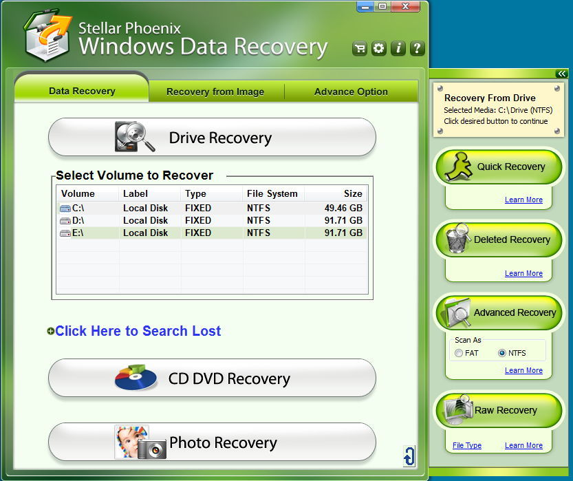 Scan / Recovery Type Selection