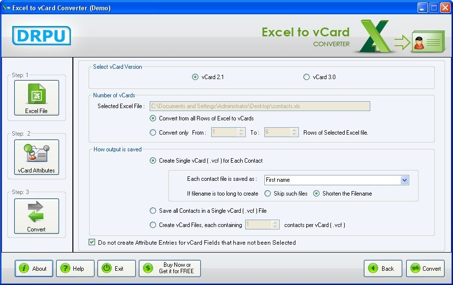 DRPU Excel to vCard Converter  Get the software safe and easy