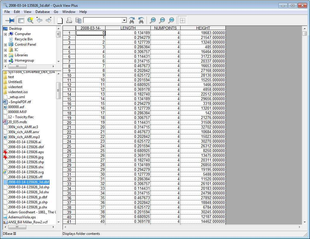 Viewing DBF Database