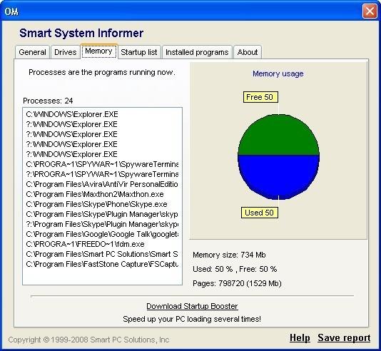 Memory info window