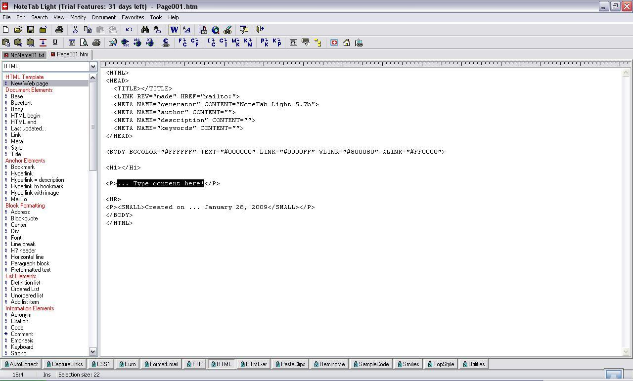 HTML edit