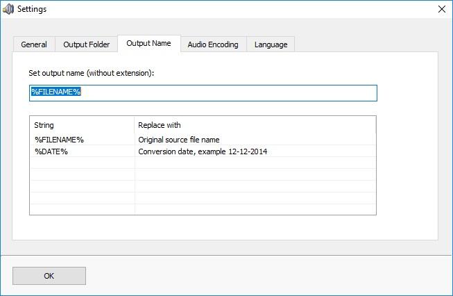 Output Name Settings