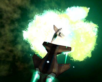 A lone Aera reduces a luddite fighter to debris