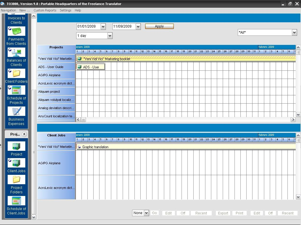 Translation Office 3000-Schedule interface