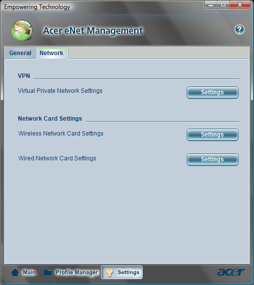 Acer eNet Management Settings Network