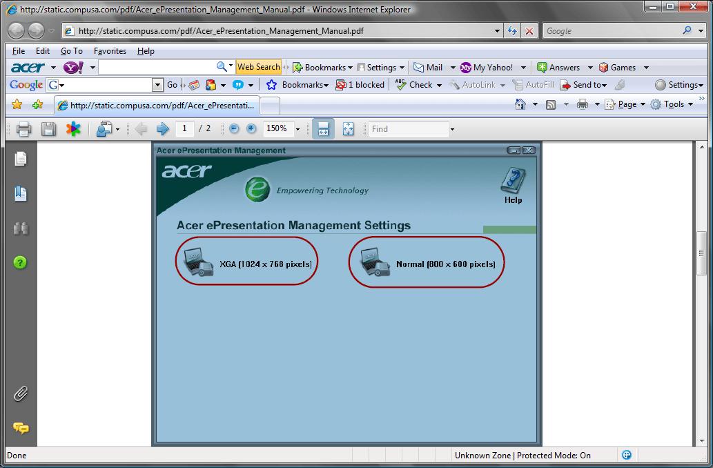 ePresentation Management Resolutions window