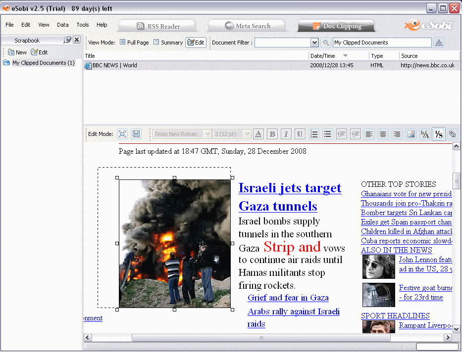 Editing a document on Doc Clipping Tab