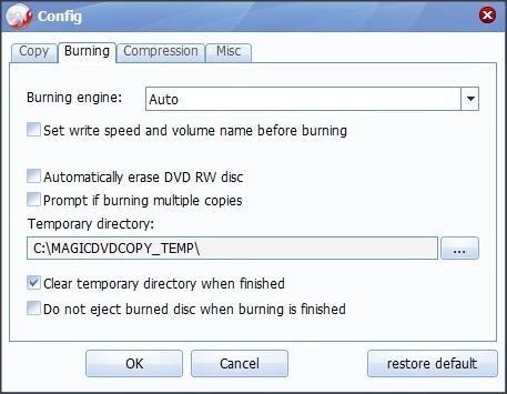 Settings Window - Burning Tab