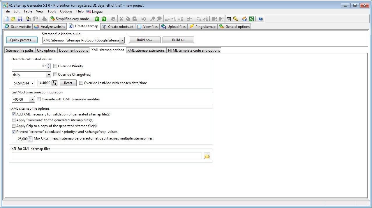 Sitemap Creation Options