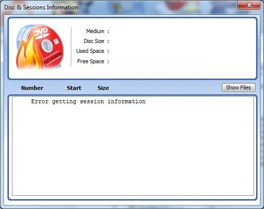 Disc and Sessions Information Window