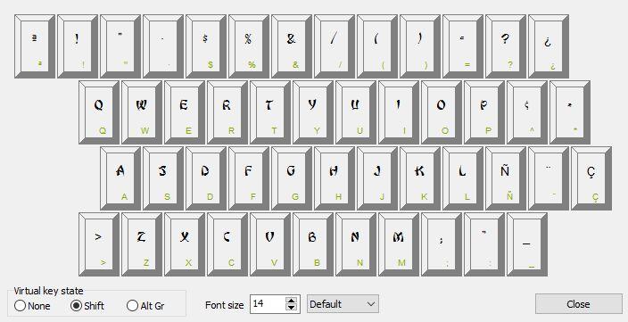 Font keyboard layout